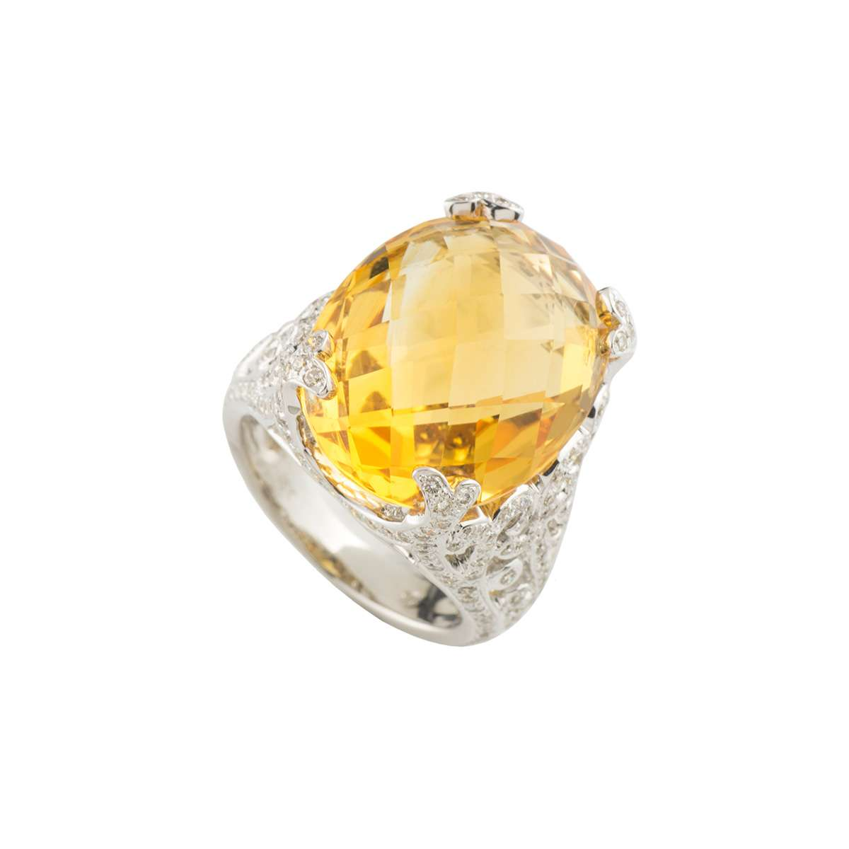 White Gold Citrine and Diamond Dress Ring